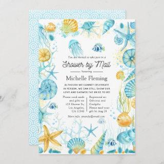 Blue and Yellow Sea Life Shower by Mail Invitations