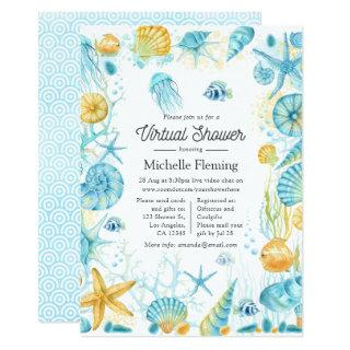 Blue and Yellow Sea Life Virtual Shower Invitations