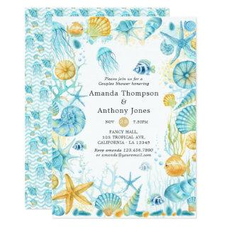 Blue and Yellow Sea Life Wedding Couples Shower Invitation