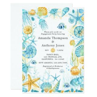 Blue and Yellow Sea Life Wedding Engagement Party Invitation