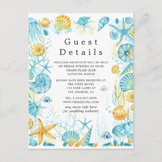 Blue and Yellow Sea Life Wedding Guest Details Enclosure Card
