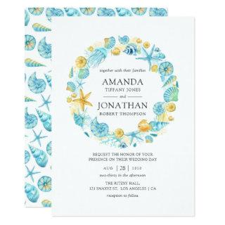 Blue and Yellow Sea Life Wedding Invitation