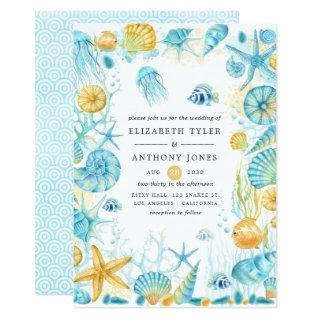 Blue and Yellow Sea Life Wedding Invitations