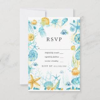 Blue and Yellow Sea Life Wedding RSVP Card
