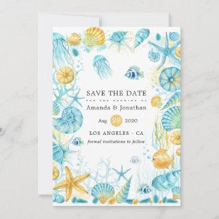 Blue and Yellow Sea Life Wedding Save The Date