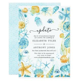 Blue and Yellow Sea Life Wedding Update Invitations