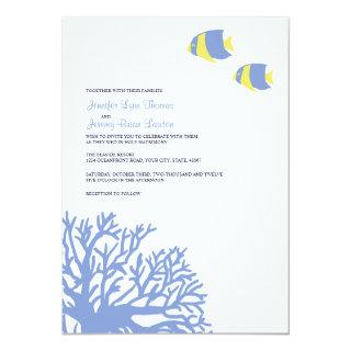 Blue and Yellow Tropical Coral Wedding Invitations