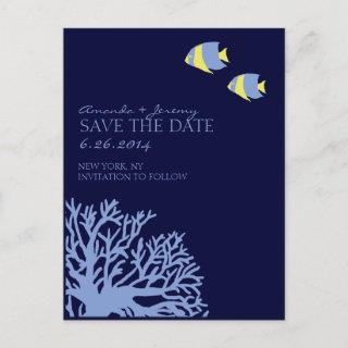 Blue and Yellow Tropical Fish  Save the Date Announcement Postcard