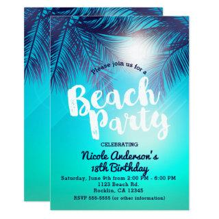 Blue BEACH PARTY Sunny Palm Trees Summer Birthday Invitations