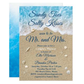 Blue Beach Waves Sandy Toes Couple's Shower Invitation