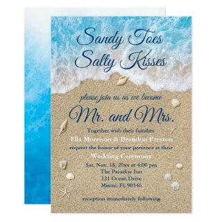 Blue Beach Waves Wedding Invitation