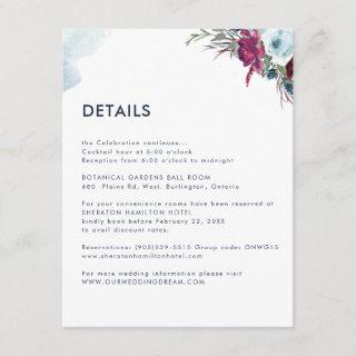 Blue Berry Floral Any Guest Information / Details Enclosure Card