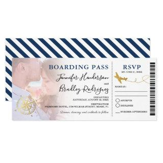 Blue Boarding Pass | Destination Wedding Photo Invitations