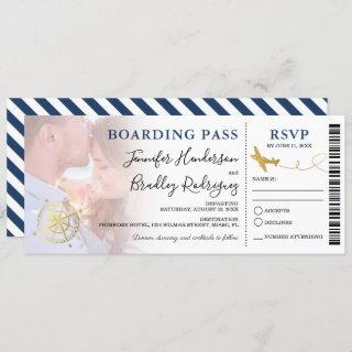 Blue Boarding Pass | Destination Wedding Photo Invitation