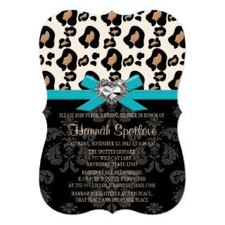 Blue Bow Leopard Print Faux Bling Bridal Shower Invitation