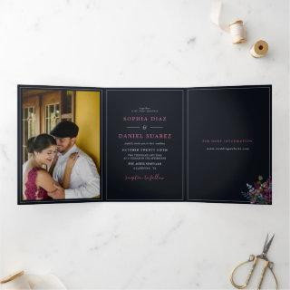 Blue Burgundy Olive Leaves Wedding Tri-Fold Invitations