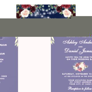 Blue Burgundy Watercolor Floral Lights Wedding Invitation