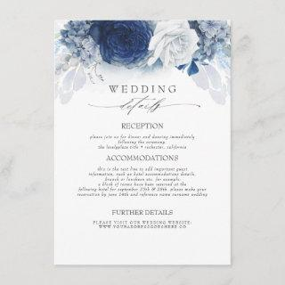Blue Colored Flowers Wedding Information Enclosure Card