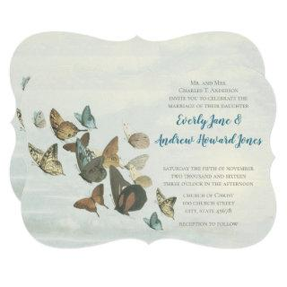 Blue Copper Gold Butterfly Wedding Invitation