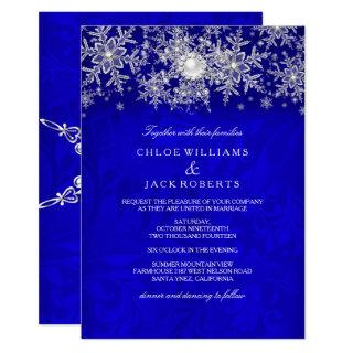 Blue Crystal Pearl Snowflake Silver Winter Wedding Invitation