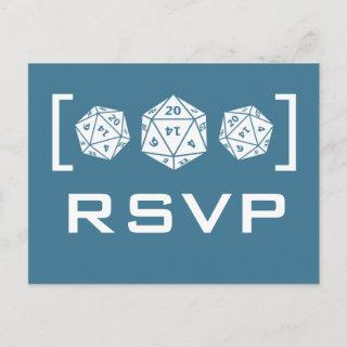 Blue D20 Dice Gamer RSVP Postcard
