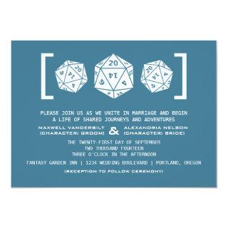 Blue D20 Dice Gamer Wedding Invitations
