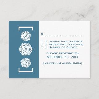 Blue D20 Dice Gamer Wedding Response Card