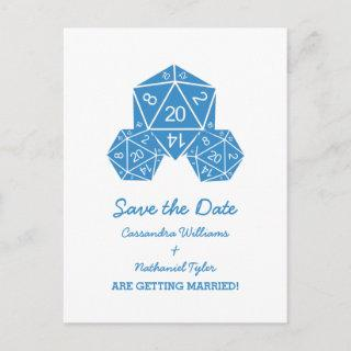Blue D20 Dice Save the Date Postcard