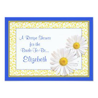 Blue Daisy Recipe Theme Bridal Shower Invitations