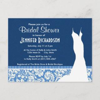 Blue Damask Pattern Invitations Postcard