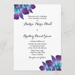 Blue Dendrobium Orchid Wedding Invitation