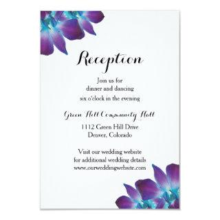 Blue Dendrobium Orchid Wedding Reception Card