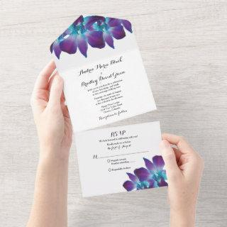 Blue Dendrobium Orchid Wedding RSVP All In One Invitations