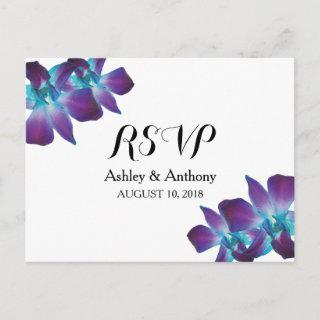 Blue Dendrobium Orchid Wedding RSVP Postcard