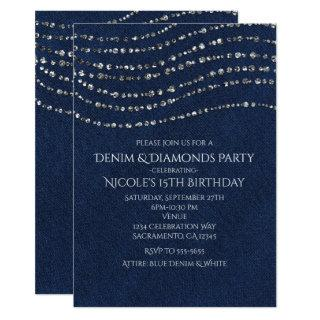 Blue Denim & Diamonds Sparkle Bling Birthday Party Invitations