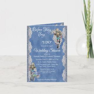 Blue Denim,flowering lace and Costume Jewelry Invitation