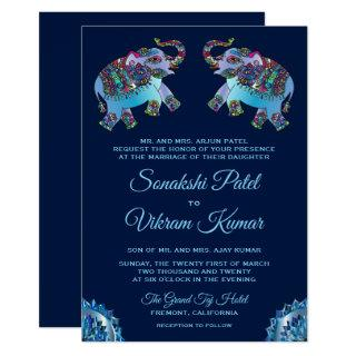 Blue Ethnic Elephants Indian Wedding Invitation