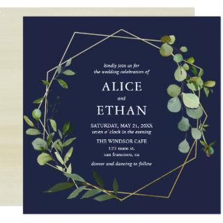Blue Eucalyptus Geometric Invitations