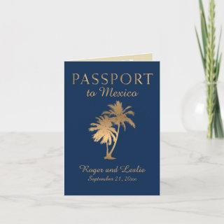 Blue Faux Gold Foil Cancun Mexico Wedding Passport Invitations