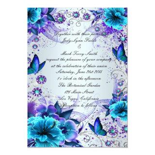 Blue Floral And Butterfly Invitations