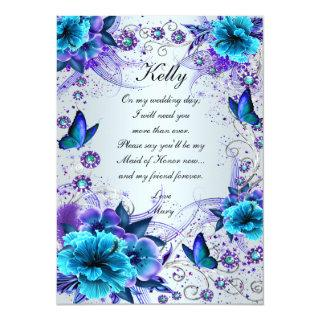 Blue Floral And Butterfly Maid Of Honor Card