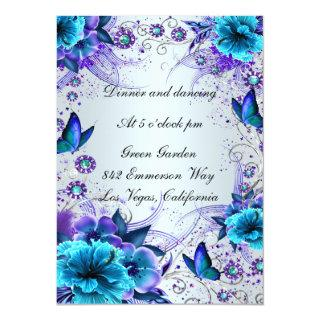 Blue Floral And Butterfly Reception Card