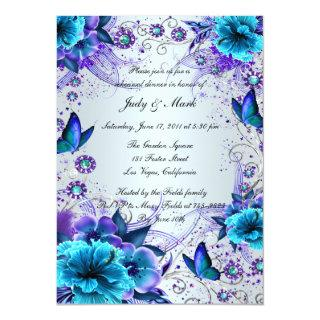 Blue Floral And Butterfly Rehearsal Dinner Invite