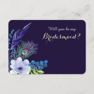Blue Floral Boho Feather Bridesmaid Invitations