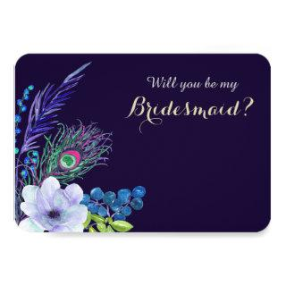 Blue Floral Boho Feather Bridesmaid Invitation
