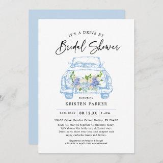 Blue Floral Drive By Bridal Shower Invitations