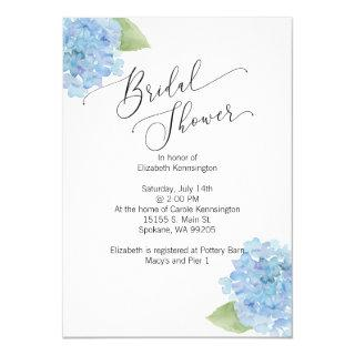 Blue floral Hydrangea Bridal Shower Invitations