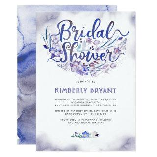 Blue Floral Script Watercolor Bridal Shower Invitation