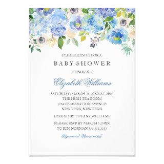 Blue Floral Watercolor Boy Baby Shower Invitations