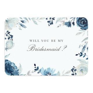 Blue Floral Will You Be My Bridesmaid Invitations